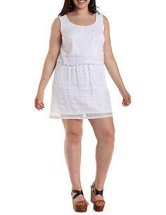 Plus Size Layered Scalloped Lace Dress #plus #charlotterusseplus #charlotte0to24