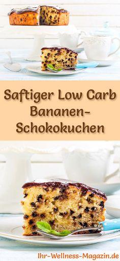 Rezept für Low Carb Bananen-Schokokuchen: Der kohlenhydratarme, kalorienreduzierte Kuchen wird ohne Zucker und Getreidemehl zubereitet ... #lowcarb #kuchen #backen