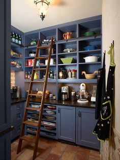 When you only got a little space, your kitchen would also be smaller. But you don't have to worry since you can make it all work out by adding shelves up to the ceiling around the kitchen. This will give you more space to stock your food and things. If you want to use a ladder like in this one, be sure you can use it safely.