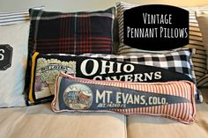 If you love the look of vintage pennant flags, give them a new life as a throw pillow with this DIY!