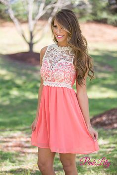 Adventure Of A Lifetime Dress Coral - The Pink Lily