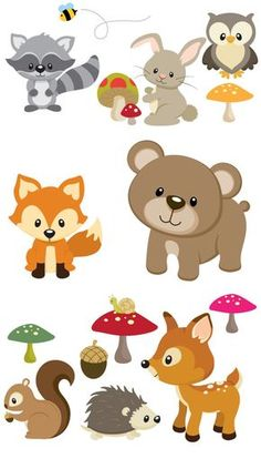 Items similar to Woodland Animals Removable Repositionable Fabric Wall Decal Stickers 15 Piece Set on Etsy Woodland Nursery Decor, Woodland Party, Woodland Forest, Woodland Theme, Forest Animals, Woodland Animals, Baby Animals, Cute Animals, Fox Party