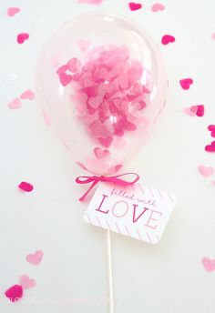 Filled With Love mini balloon wands. They are a great non candy Valentine that everyone will love.
