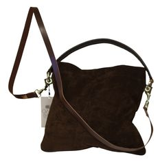 Owen Barry Bags Iggy Shoulder Bag Chocolate Suede Handbags Purses