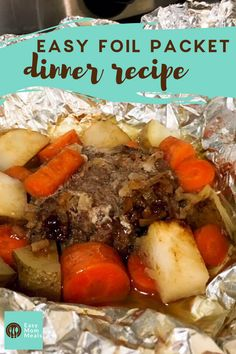 Mini Pot Roast pockets, or hobo dinners are tin foil dinners made with hamburger and vegetables. Easily customizeable this easy recipes is perfect for busy moms. Tin Foil Dinners, Foil Packet Dinners, Foil Pack Meals, Hobo Dinner Recipes, Camping Meals, Camping Recipes, Backpacking Meals, Grill Meals, Camping List