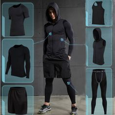 Cheap men running set, Buy Quality running set directly from China running set men Suppliers: 2017 Quick Dry Men's Running Sets Compression Sports Suits Basketball Tights Clothes Gym Fitness Jogging Sportswear Running Suit, Men Running Outfit, Gym Outfit Men, Basketball Compression Pants, Estilo Fitness, Fitness Man, Health Fitness, Workout Fitness, Courses