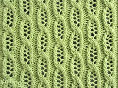 Lace Cable, knitting stitch pattern on KnittingStitchPatterns.com