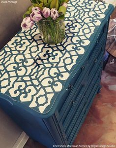 Chalk Paint Painted Dresser Drawers Top with Blue and White Design - Chez Sheik Moroccan Furniture Stencils - Royal Design Studio