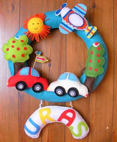 Custom Personalized Name Wreath- Door Hanging- Sign For Baby- Car, Sun,Tree,Bird,Airplane by sesideco
