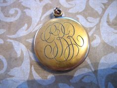 Art Deco Gold Filled Locket w Script Initials by charmingellie