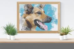 Cross Stitch Pattern: German Shepherd watercolour dog puppy fur baby Stitchy Wonders - embroidery art chart download PDF Hand Embroidery Patterns, Embroidery Art, Cross Stitch Fabric, Cross Stitch Patterns, Pattern Making, Fur Babies, Watercolour, Dogs And Puppies, German