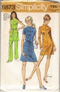 Simplicity 8873 1970s Misses Mod Zip Front Mini Dress Tunic and Pants Pattern Womens Vintage Sewing Pattern by patterngate.com