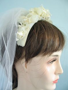 Ivory Bridal Veil Two Tiered Pencil Edged Retro 1980s by bytheway, $70.00