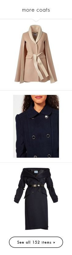 """""""more coats"""" by lustydame ❤ liked on Polyvore featuring outerwear, coats, jackets, embellished cape, reversible coats, long coat, long sleeve cape, shawl collar coat, navy and petite"""