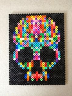 Skull hama beads by Irina Hansen Weaver Weaver Weaver Crandall as the girls can make this for my christmas present. Fucking awesome magnets, no? Perler Bead Designs, Perler Bead Templates, Hama Beads Design, Diy Perler Beads, Perler Bead Art, Pearler Beads, Hama Beads Coasters, Melty Bead Designs, Melty Bead Patterns