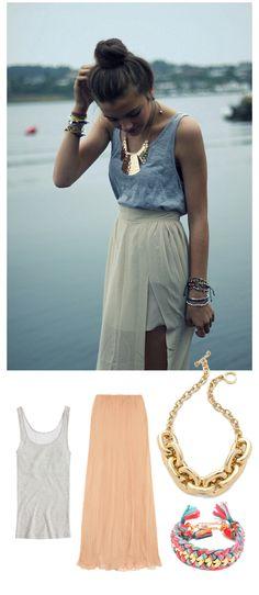 top knot + gold statement necklace + gray tank + maxi skirt + friendship bracelets