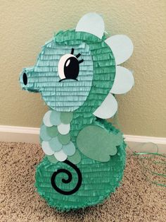 Alexa's seahorse piñata for her under the sea - mermaid birthday party!!!