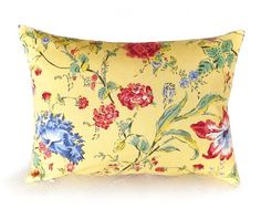 Yellow Floral Pillow 14x18 Lumbar Country by PillowThrowDecor, $29.00