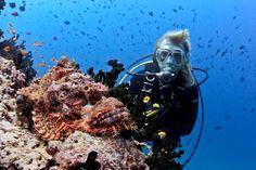 Agnes van Linden, Director of Carpe Diem Maldives during an amazing scuba dive in the Maldives