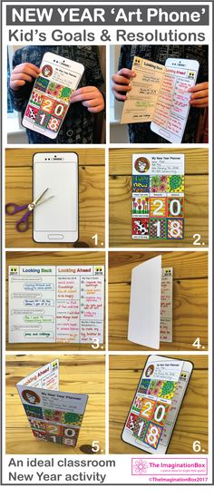 This is a fun New Year art activity for kids - ideal for teachers to use in the classroom during the first week back to school. This New Year art project enables kids to creatively discuss their New Year's resolutions and set new goals. The easy to use printable templates make a fold out art phone, so kids can enjoy drawing, writing and construction, click open the link for full details of this downloadable pdf resource.