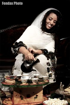facesofethiopia: An Ethiopian coffee making ceremony.