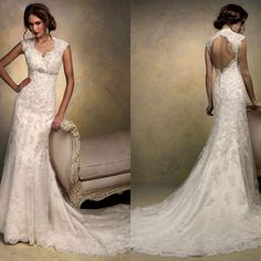 slight mermaid cape sleeve floor length bridal gowns halter top with long train keyhole back lace wedding dress $195.00