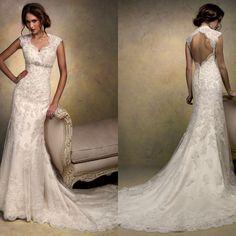 slight mermaid cape sleeve floor length bridal gowns halter top with long train keyhole back lace wedding dress $195.00