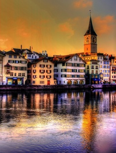 Zurich, Switzerland ~ I was blessed enough to be able to see this every day for about a year. Truly the most beautiful place I've ever been.