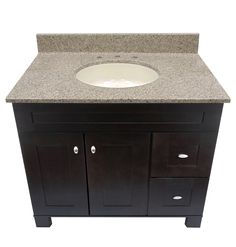 US Marble Cultured Magna Granite Vanity Top. Shown in Pebble with an Eased Edge.