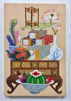 Decorative Bird Houses, Decorative Boxes, Korean Painting, Geisha Art, Drawing Wallpaper, Korean Art, Wonderful Picture, Magic Carpet, Pattern Illustration