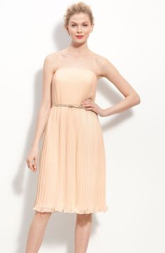 Donna Morgan Pink Belted Pleated Chiffon Dress