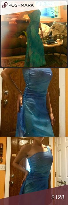 STUNNING Starry Night/Jewel of the Sea Dress An absolutely GORGEOUS dress by Taboo, this piece will hug you in all the right places and show you off like the mermaid Goddess you are! Perfect for Prom, Pageantry, or any other special event in your life! Size medium but has great stretch so will also fit smaller (I'm usually a 1-3/00-2/XS-S and it fits me great!) Brand new with tag! Complete with silver sparkles (that actually stay put!) and an elegant ruffle along the side for extra chic…