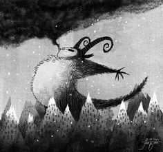 far away, there is a giant demon eating the snow clouds..