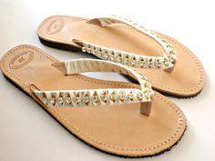 Wedding sandals Greek leather sandals  Rhinestones by dadahandmade