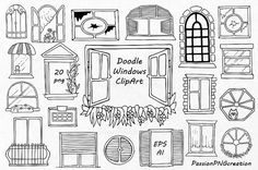 Doodle Windows Clipart set includes: - 20 PNG files with transparent backgrounds ( approximately high) - EPS, AI, (vector) files Each file is in high Doodle Drawings, Doodle Art, Window Drawings, Window Clipart, Feather Clip Art, House Doodle, Travel Clipart, Doodle Background, Banner Drawing