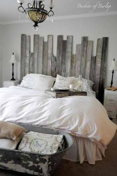 Love the headboard and the linen bucket