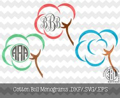 Cotton Boll Monogram Designs .DXF/.SVG/.EPS File for use with your Silhouette Studio Software
