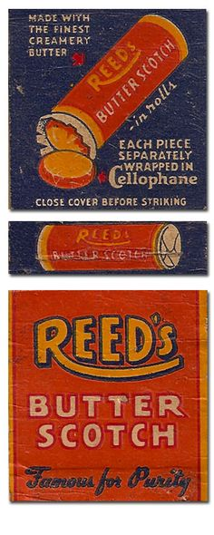Vintage butterscotch candy advertising matchbook cover