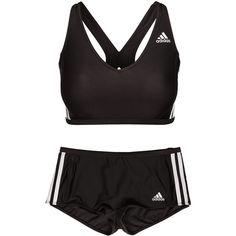 Adidas Sport Performance I 3s Bikini featuring polyvore, women's fashion, clothing, swimwear, bikinis, black, sports fashion, swimwear sport, womens-fashion, tankini tops, racerback swim top, sport bikini, swimsuit tops and bikini tops