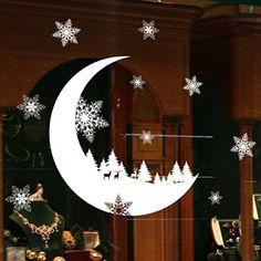 Stickers Muraux Vitres Decoration de Noël,Koly NoëL Autocollants blanche Flocon de neige lune et renne DéCoration Salon Fenêtre De La…