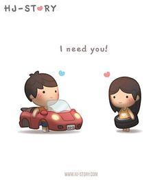 """HJ Story - Someone suggested me do an """"I Need You"""" image a. Hj Story, Cute Couple Cartoon, Cute Love Cartoons, Cute Cartoon, Chibi Couple, Cute Love Stories, Love Story, Ah O Amor, Love Is Sweet"""