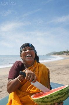 A Good Laugh in Goa - so much joy - all that is needed is a watermelon and a beach