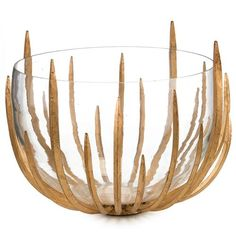 Shop the John-Richard Malick Hollywood Regency Gold Leaf Spikes Clear Glass Bowl and other Decorative Bowls at Kathy Kuo Home Contemporary Decorative Bowls, Decorative Plates, Modern Contemporary, Decorative Accents, Decorative Accessories, Luxury Wedding Gifts, Luxury Gifts, Home Interior Accessories, Accessories Online