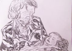 Charcoal on paper.  This is a quick charcoal drawing of my grandmother holding her great granddaughter soon after her birth.