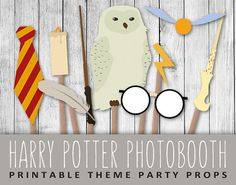 Harry Potter Photobooth Props - Wizard Party Set & Sign - O241057 - INSTANT DOWNLOAD