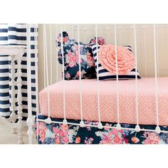 Stripe and Floral Pillow Coral and Navy Nursery Decor Peach and Navy... ($54) ❤ liked on Polyvore featuring home, children's room, children's decor, decorative pillows, grey, home & living and home décor