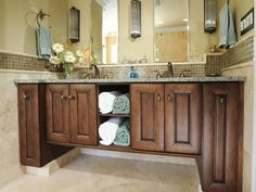 gray countertop oak vanity - Google Search