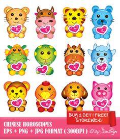 Chinese Horoscopes clip art. by ElsyDesign on Etsy, $5.00