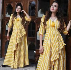 Beautiful Cotton Kurti with modern silhouettes and style.order contact my whatsapp number 7874133176 Pakistani Dresses, Indian Dresses, Stylish Dresses, Fashion Dresses, Maxi Dresses, Fancy Kurti, Kurti Designs Party Wear, Designs For Dresses, Saree Dress