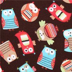 brown owl organic fabric Hootenanny Timeless Treasures